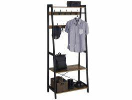 Garderoberek - industriële look - 9 haken - 76x180x43 cm - bruin/zwart