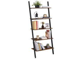 Boekenkast - ladder vorm - 5 houten planken - 64x186x34 cm - bruin/zwart