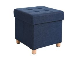Poef - opvouwbaar - met poten - stof - 38 cm - donker blauw