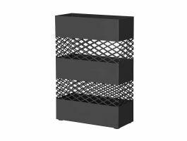 Metalen paraplubak - rechthoekig - met waterbakje - zwart