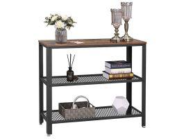 Hoge consoletafel - 2 legplanken - industriële look - 101,5x80x35 cm - bruin/zwart
