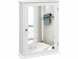 Badkamerkast - 1 deur met spiegel - 41x60x14 cm - wit