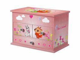 Juwelendoosje met muziek - met lades en spiegels - roze