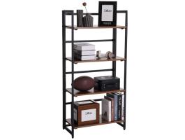 Boekenkast - vintage look - inklapbaar - 60x125.5x30 cm - zwart/vintage bruin