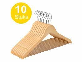 Kledinghangers - roterende haak - 10 stuks - massief hout - kwalitatief esdoorn - bruin