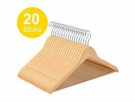 Kledinghangers - roterende haak - 20 stuks - massief hout - kwalitatief esdoorn - bruin