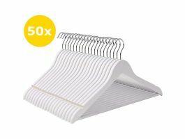 Premium kledinghangers - roterende haak - massief hout - 50 stuks - wit