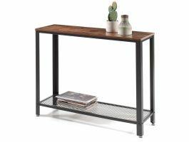 Hoge consoletafel - industriële look - 101,5x80x35 cm - bruin/zwart