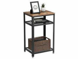 Hoge consoletafel - industriële look - 45x75x35 cm - bruin/zwart