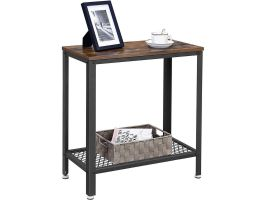 Middelhoge consoletafel - 60x60x30 cm - zwart/vintage bruin