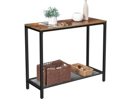 Hoge consoletafel - vintage look - 100x80x35 cm - bruin/zwart