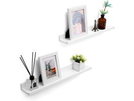Set van 2 wandplanken - rechthoekig - 60x5x10 cm - wit