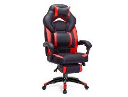 Gamestoel ergonomisch met voetsteun rood/zwart