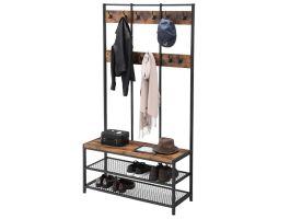 Garderoberek XL - industriële look - 12 haken - 100x186x40 cm - vintage bruin