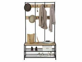 Garderoberek XL - industriële look - 12 haken - 100x186x40 cm - lichte eik/zwart