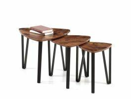 Set van 3 bijzettafeltjes - vintage look - maximaal 58,6x45 cm - bruin/zwart