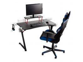 Game bureau - met accessoires - metalen poten - 108x70x60 cm - zwart/rood