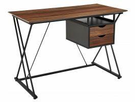 Bureau - metalen frame - met 2 lades - 110x76x55 cm - bruin/zwart
