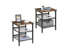 Set van 2 bijzettafeltjes - verstelbare legplanken - 40x40x50 cm - industriële look - bruin/zwart