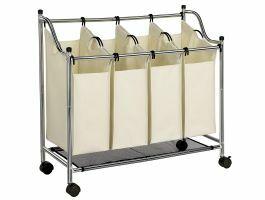 Mobiele wassorteerder - 4 vakken van elk 35 liter - 87x81x38 cm - crème